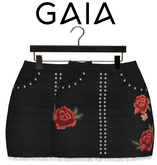 GAIA - Bee denim skirt BLACK