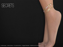 -SECRETS - Infinite Ankle Chains  - Silver - boxed