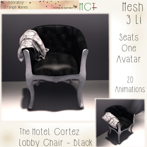 ~ASW~ The Hotel Cortez Lobby Chair -Black