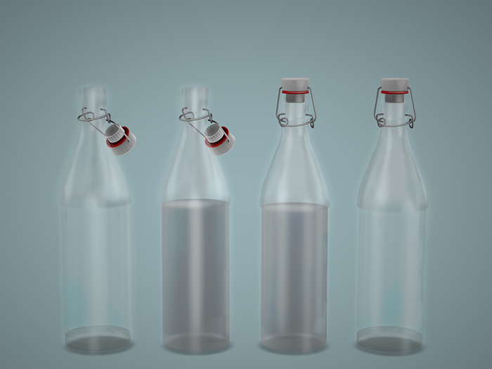 Dutchie mesh glass water bottle with porcelain cap in 4 versions