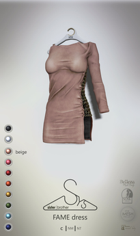 [sYs] FAME dress (fitted & body mesh) - beige