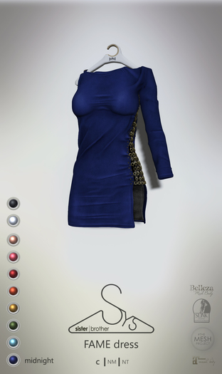 [sYs] FAME dress (fitted & body mesh) - midnight