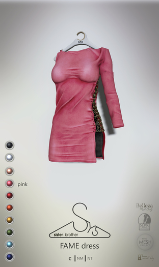 [sYs] FAME dress (fitted & body mesh) - pink