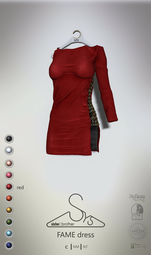 [sYs] FAME dress (fitted & body mesh) - red