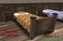 Rustic Single Bed & bed table, 2 LI