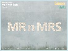 Wedding Decor - Mr n Mrs Sign - Neutral (Mesh) [Lemon Chilliz]