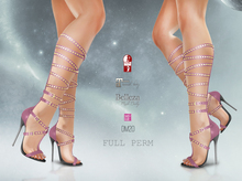 [DM] Full Perm 20 rivet strappy high heel boot