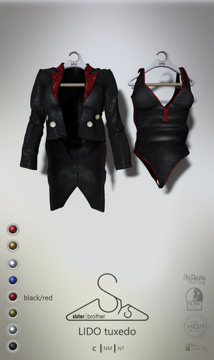 [sYs] LIDO tuxedo (fitted & body mesh) - black/red