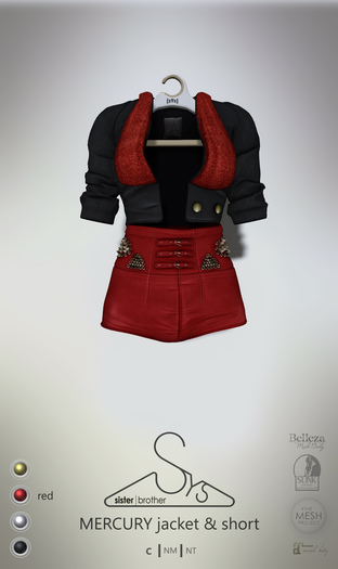 [sYs] MERCURY jacket & short (fitted & body mesh) - red