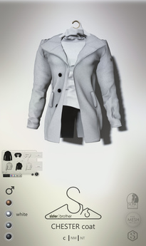 [sYs] CHESTER coat M (fitted & body mesh) - white