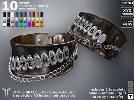 **RE** Bones Bracelets Couple * ENGRAVABLE * MESH * (** ReVoX** Collection)