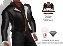GQ Dasher Black Leather & Wool Jacket with scarf - Mesh Outfit
