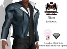 GQ Blitzen Blue Leather & Wool Jacket with scarf Outfit