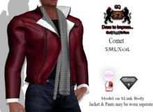 GQ Comet Red Leather & Wool  Jacket with scarf - Outfit