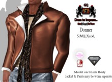 GQ Donner Brown Leather & Wool  Jacket with scarf - Outfit