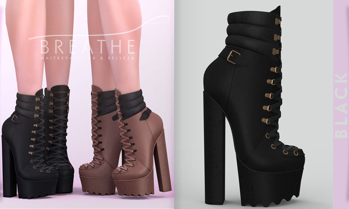 [BREATHE]-Elena Heels-Black-(for Slink High Feet & Maitreya Lara & Belleza)