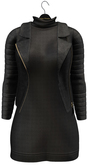 fame femme: Leather jacket with dress - Black