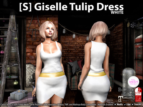 [S] Giselle Tulip Dress White
