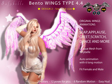 213 [CM] Bento Angel Wings  Type4.4 DESIGN 2 - Hud - 20 Col - 12 Poses - 6 Long Anims  ! Try THEM