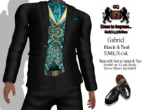 GQ Gabriel Outfit ~ In Black & Teal Brocade - By 69 Park Ave