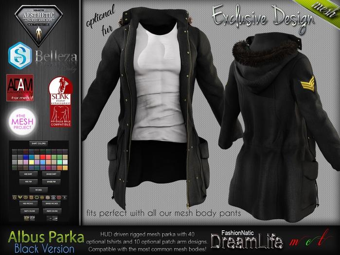ALBUS BLACK Male Parka Jacket, with T- Shirt MESH - ADAM, AESTHETIC, SIGNATURE, SLINK, TMP, JAKE - FashionNatic