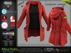 ALBUS RED Male Parka Jacket, with T- Shirt MESH - ADAM, AESTHETIC, SIGNATURE, SLINK, TMP, JAKE - FashionNatic