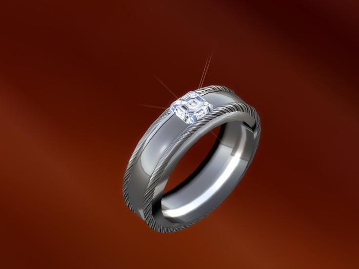 TM Mens Diamond Asscher-Cut Solitaire Wedding Band -  BENTO - Color Change - Brightness - Resize - Left Ring Finger