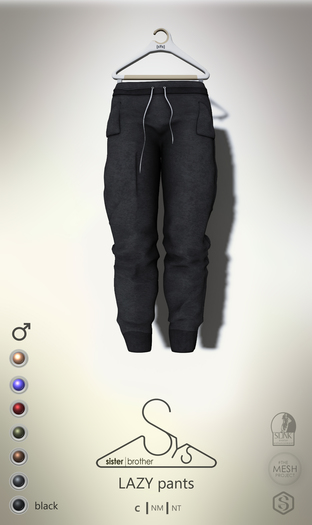 [sYs] LAZY pants (Male body mesh) - black