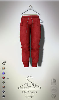 [sYs] LAZY pants (Male body mesh) - red GIFT <3