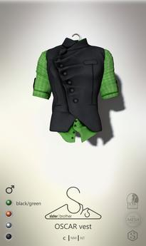 [sYs] OSCAR vest (Male body mesh) - black/green GIFT <3