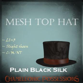@LC@ Top Hat  - Plain Black Silk