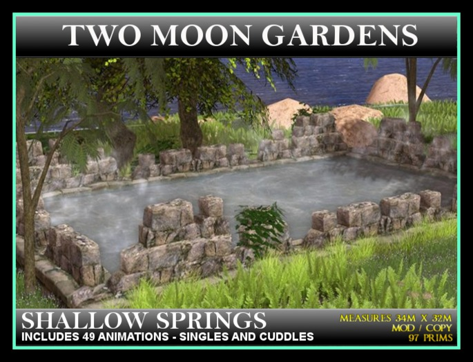 SHALLOW SPRINGS* Landscape Garden. Hot Spring pool/pond with animations