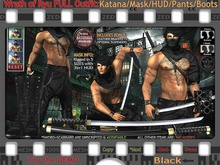 FULL - ZED MESH MATERIALS ENABLED: Black Wrath of Ryu FULL Outfit - Pants/Boots/Katana/Mask/HUD/Suspenders/Bracelets