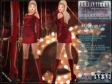 Bella Moda: Amore Crimson Dress & Boots Outfit: Maitreya/Classic/Physique/Hourglass/Isis/Venus/Freya+5xStd