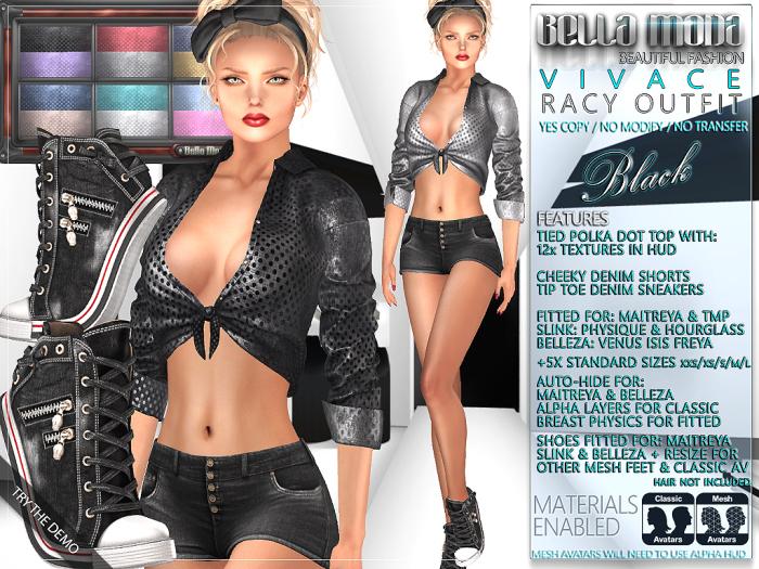 Bella Moda: Vivace Black Racy Outfit - Maitreya/TMP/Physique/Hourglass/Isis/Venus/Freya+Std