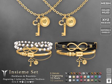**RE** Insieme Set - Necklaces & Bracelets * ENGRAVABLE * MESH *