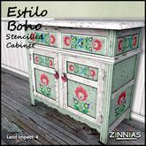 Zinnias Estilo Boho Stenciled Cabinet