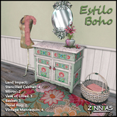 Estilo Boho Stenciled Cabinet Set