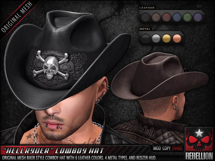 "= REBELLION = ""HELLRYDER"" COWBOY HAT"