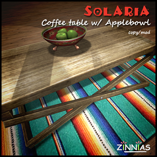 Zinnias Solaria coffee table w applebowl
