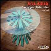 Zinnias Solaria verdigris side table