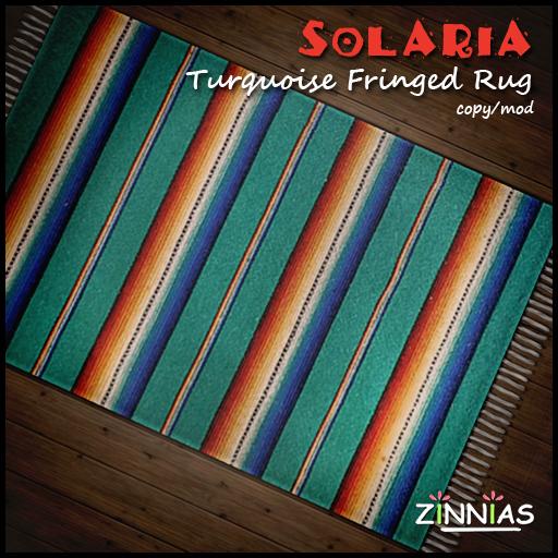 Zinnias Solaria Fringed Turquoise Rug