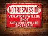 NO TRESPASSING Rusty METAL SIGN Poster