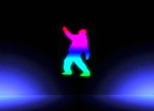 Animated Neon Dancing GUY (rainbow)