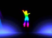Animated Neon Dancing GIrl (rainbow)