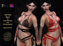 CHAMELEON - Mary - Tattoo, Red and Pink, Maitreya & OMEGA applier huds