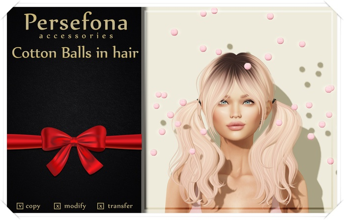 Persefona Cotton Balls in hair (gift)