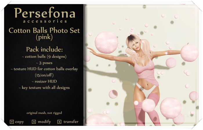 Persefona Cotton Balls Photo Set (pink)