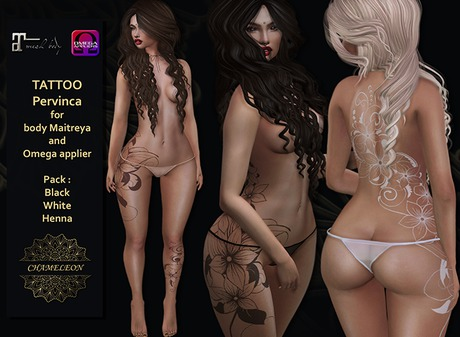 "CHAMELEON - Tattoo ""Pervinca"" Pack 3 colors for body Maitreya and Omega Appliers"