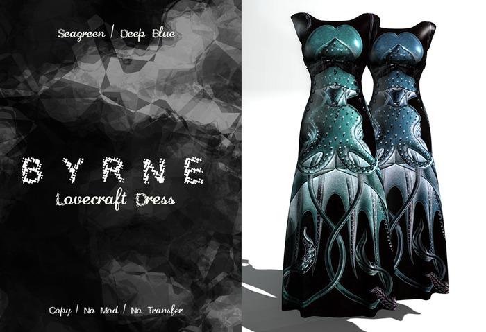(BYRNE) Lovecraft Dress-Seagreen/ DeepBlue